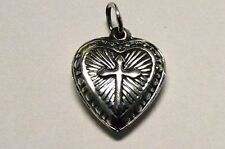 Sterling puffy puffed Heart with Cross Charm