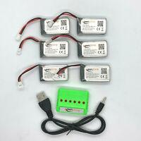 6 Pc 3.7V 720mAh 20C Lipo Battery 6 in 1 USB Balance Charger Drone Syma Cheerson