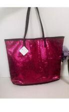 Macy's Shoulder Glitter Bag Tote Pink black faux leather sparkling