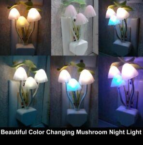 Color Changing Mushroom Night Light - US or EU plug option