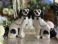 """Vintage Staffordshire Spaniel Wally Dogs Black & White 8"""" Inches Hand-painted"""