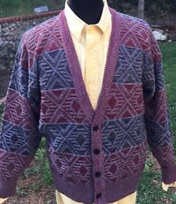 Men's V Neck Sweater, JT Beckett, Size M Burgundy & Gray 4 Button Front