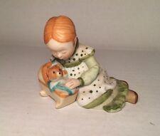 Holly Hobbie Green Girl Figurine with Teddy Bear 1980