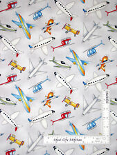 Airplane Plane Toss Gray Cotton Fabric Wilmington Ready For Takeoff By The Yard