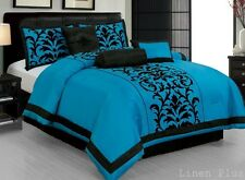 21 Piece Turquoise Black Comforter + Sheet + Curtain Set Queen Size DT6