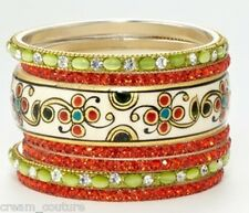 Chamak by Priya Kakkar Set of 7 Peacock Crystal Bangles NEW MSRP $168 GORGEOUS