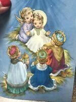 Vintage Christmas Card MCM Angels Baby Jesus 3 Wisemen Children Star