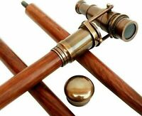 Antique Brass Telescope Spy Head Handle Victorian Wooden Walking Stick Cane Gift