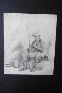 DUTCH SCHOOL CA. 1820 - A FISHERMAN - FINE CHARCOAL DRAWING ATTR. VAN STRIJ