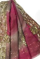 Vintage Indian Dupatta Antique Georgette Long Stole Embroidered Scarves Hijab