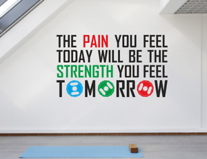 Pain Strength Fitness Gym Motivational Inspire Quote. Window Wall Decal Sticker