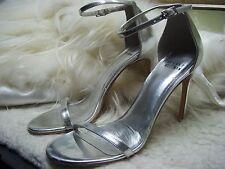 Stuart Weitzman Nudist Ankle Strap Sandal Shoes Size 6.5 Silver Color