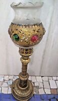 India Old  Metal Crafted Table  Candle/Lamp Stand Semi Precious stone fitted