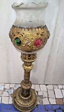 India Old  Brass Crafted Table  Candle/Lamp Stand Semi Precious stone fitted