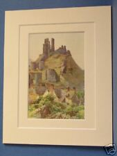 CORFE CASTLE NEAR SWANAGE DORSET  VINTAGE DOUBLE MOUNTED HASLEHUST PRINT c1920