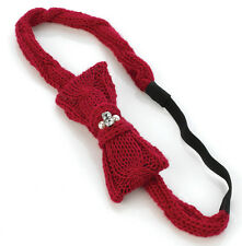 RED KNITTED KNIT BOW HEADBAND WITH PEARL & DIAMANTE HAIR BAND BANDEAUX HEADWRAP
