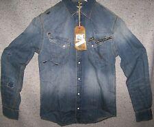 WRANGLER camicia Jeans Denim western Slim Fit con strappi Tg.M