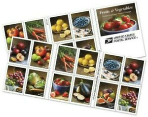 Fruits And Vegetables Booklet of Twenty Forever Postage Stamps Scott 5493