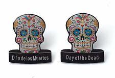 2 x Day of the Dead (Dia de los Muertos) Candy Mask Lapel Pin Badges (C8)