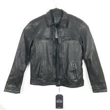 Mens AllSaints Lark Leather Jacket Black Bomber Biker Size L Large Minimalist