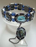Ring + Armband Strass hochwert elastisch Metall Schmuck blau silber schwer NEU