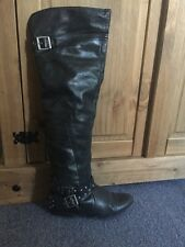 River Island Leather Black Buckle Over The Knee Boots Uk 6 LOOK