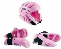 Proforce Sparring Gear Set Karate Pads Head Helmet Hand Foot Guards Pink - NEW