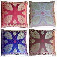 2 x Cushion Covers Brocade Red Blue Brown Cream 40cm Paisley Banarasi Silk Gold