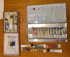 25 Vintage Lot Winsor & Newton-Grumbacher Artist's Watercolor Case -Tin -Tubes