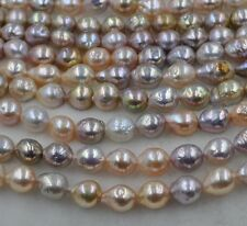 GORGEOUS Rare Rainbow Multicolor Furrow Kasumi pearl strand 10-13*11-14mm