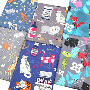 Cartoon Animals Cats Prints Fat Quarters 100% Cotton Fabric Bundles By The Metre