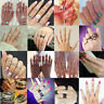 Fashion Punk Urban Rings Gold Crystal Above Knuckle Stacking Band Midi Ring Set