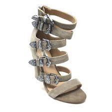Women's Steve Madden Taren Strappy Sandals Shoes Size 6 Gray Suede Buckles D15