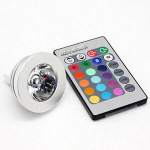 FARO RGB LAMPADA FARETTO GU10 MULTICOLORE 3W LED TELECOMANDO CROMOTERAPIA