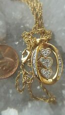Danbury Mint I Love You Gold-plated Diamond Pendant Necklace Signed retired