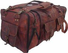 "Men's 30"" genuine Leather large vintage duffle travel gym weekend overnight bag"