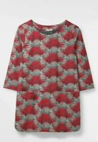 RRP £45 White Stuff Ruth Tunic Pockets Top Jersey Coral Pink print shirt