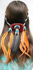 NEU Indianer Haarschmuck Stirnband Federgehänge Ledermandala Fotoshooting Hippie