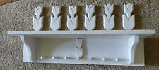"White Rustic 5"" Deep  x 22"" Length Wooden Shelf with cutout Tulips and 7 pegs"