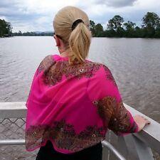 Pink Chiffon Bolero Cardigan Shrug Open Front Top Sheer Gold Paisley Border