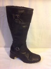 Dolcis Black Mid Calf Leather Boots Size 39