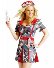 Sexy Camo Army Military Nurse Medic Shot Soldier Womens Holiday Costume M/L
