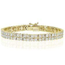 18K Gold Tone 0.25ct Natural Diamond Miracle Set 2-Row Tennis Bracelet in Brass