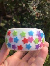 Vintage Lucite? Resin Bangle Bracelet Multi Color Rainbow Stars