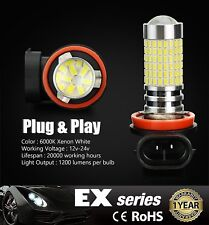 JDM MAD 2x 144-SMD H11 Super Bright 6000K White 12V LED Fog Driving Light Bulb