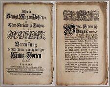 Königliches Mandat: Die Verrussung verschiedener Müntz-Sorten 1750 -Sachsen -xz
