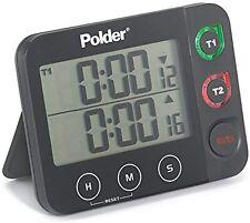 Polder Dual Digital Kitchen Timer for Multitasking with LED Alert Black