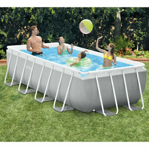 """Intex 13ft 1.5"""" (4m) Rectangular Prism Frame Pool with Filter Pump and Ladder"""