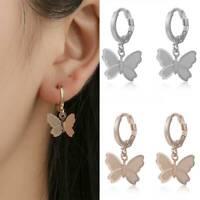 Elegant Woman Girl Stainless Steel Butterfly Ear Stud Drop Earrings Gift 1 Pair