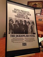 "2 BIG 11X17 FRAMED THE JACKSONS (MICHAEL) ""1984 VICTORY TOUR"" PROMO ADS + bonus!"